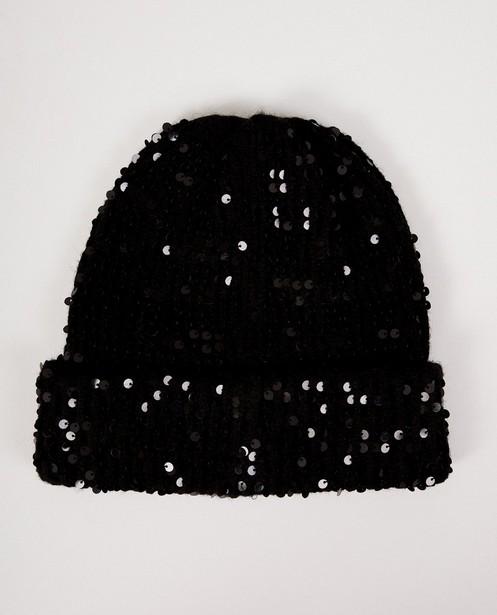Zwarte muts met pailletten Pieces - met pailletten - Pieces