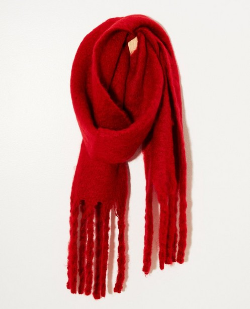 Rode sjaal - met rafels - JBC NL