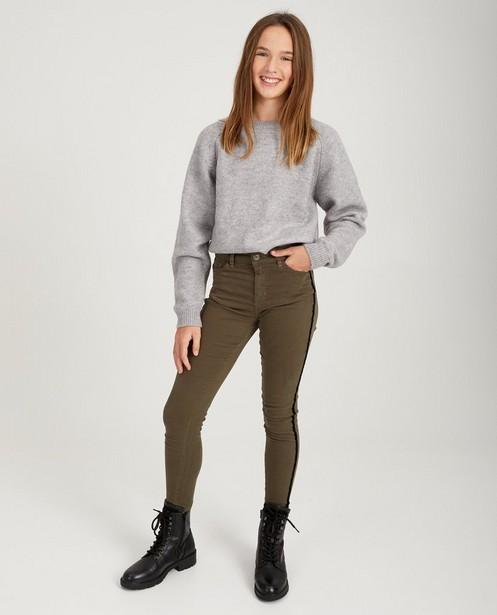Kakigroene jeans met streepdetail - fluweel - Groggy