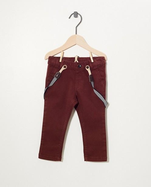 Donkerbruin broekje met bretellen - van stretch - cudd