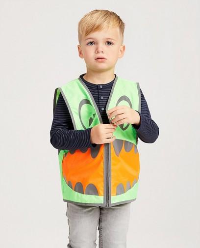 Grün-orangefarbene Weste mit Print