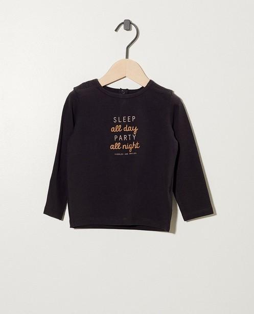 Donkergrijs shirt met opschrift - met glitter - cudd