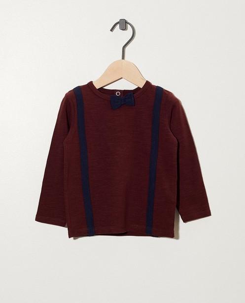 Braunes Shirt mit Schleife - mit Hosenträger-Print - cudd