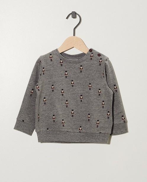 Grauer Sweater aus Biobaumwolle - mit Nussknacker-Print - cudd