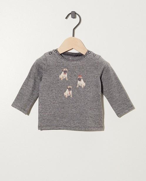 Gestreept shirt van biokatoen - met 3 mopshondjes - Newborn