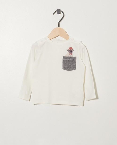 Wit shirt van biokatoen - met print van mopshond - Newborn