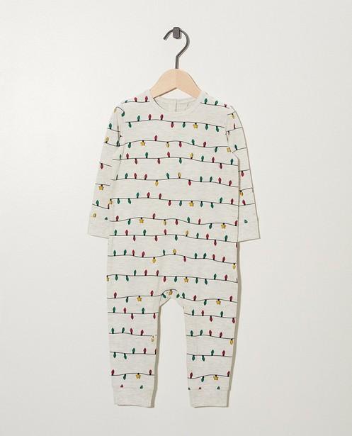 Pyjama gris clair en coton bio - imprimé de petites lampes - cudd