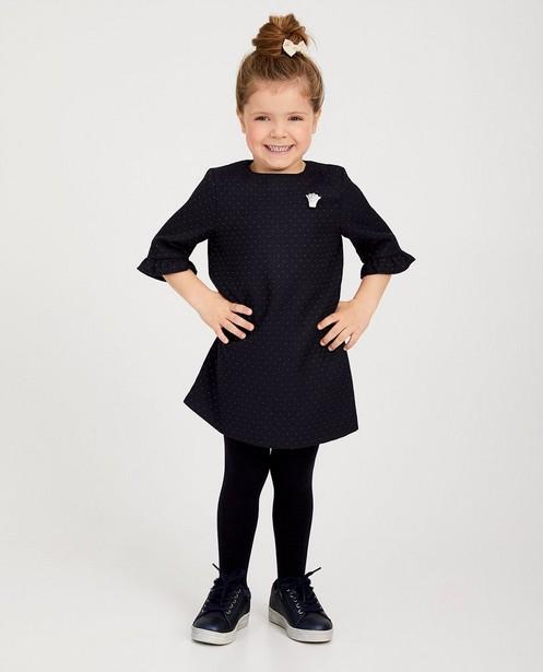 Blauwe jurk met stipjes Prinsessia - met allover reliëf - Prinsessia
