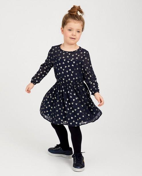 Blauwe jurk met print Prinsessia - allover kroontjes - Prinsessia