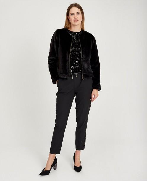 Zwarte faux fur jas Youh! - kort model - Sora