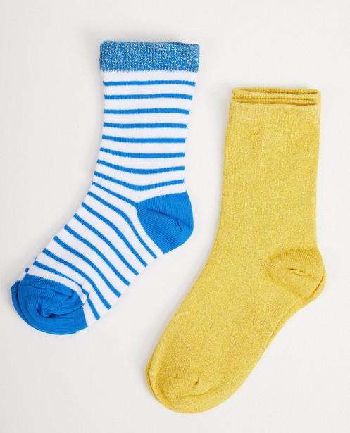 Chaussettes Petit écho de la forêt - 2 paires, bleues et jaunes - fabe