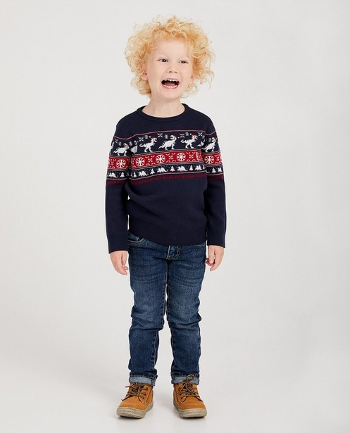 Pull de Noël bleu dino, 2-7 ans - dinos rouges et blancs - JBC