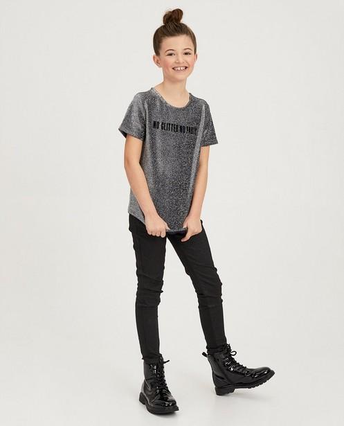 Zwart shirt met metaaldraad - zilverkleurig - fish