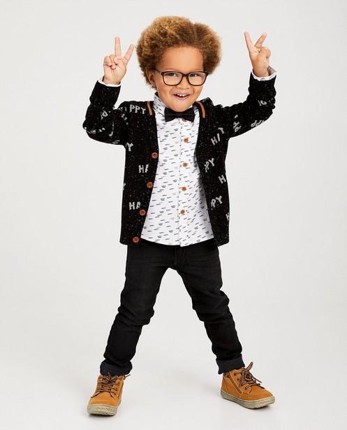 Gilet «happy» noir à tachetures - fin tricot - kidz
