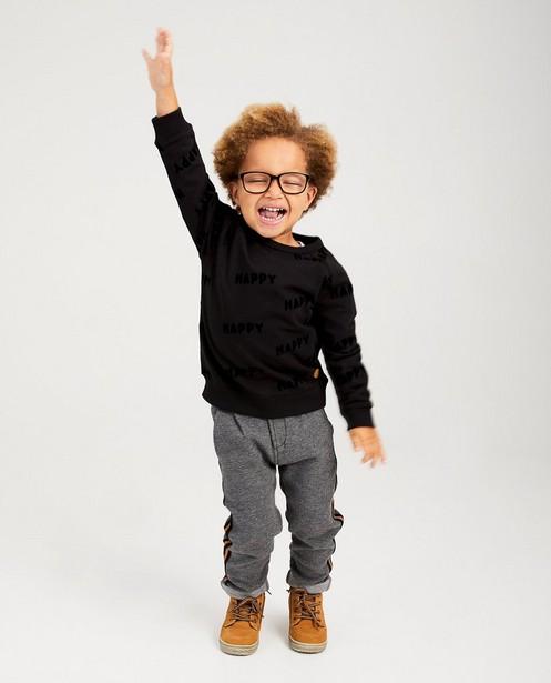 Zwarte sweater met opschrift - in fluweel - kidz