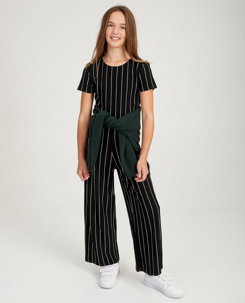 Zwarte jumpsuit met strepen - allover print in wit - Groggy
