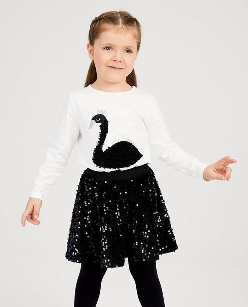 T-shirts - Witte longsleeve met zwaan