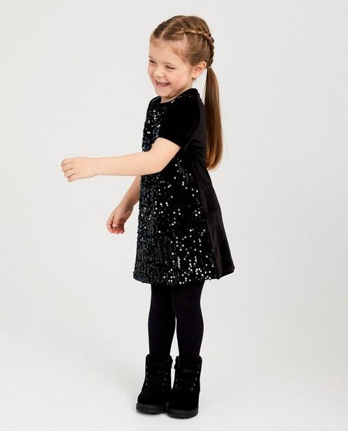 Zwarte jurk met pailletten - van fluweel - Milla Star