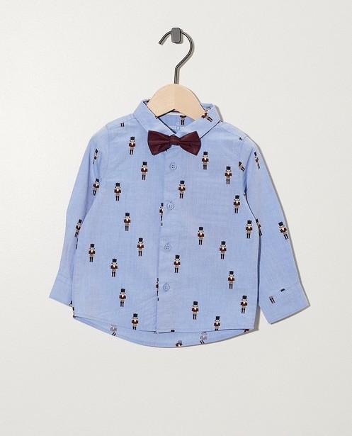 Blauw hemd met notenkraker-print - met vlinderdasje - cudd