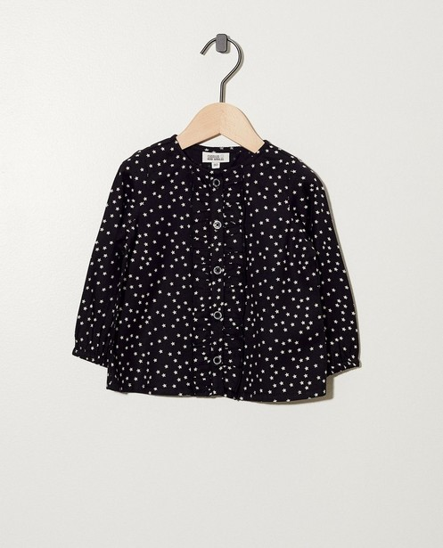 Zwart hemdje met sterretjes - in wit - cudd