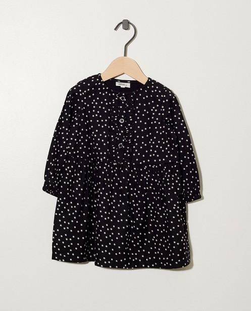 Zwart jurkje met sterretjes - print in wit - cudd
