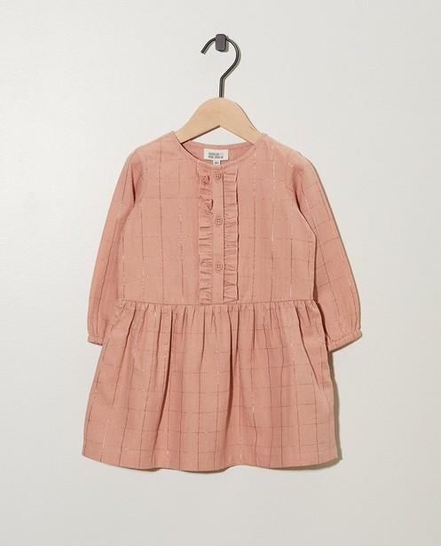 Roze jurkje met metaaldraad - in rasterpatroon - cudd