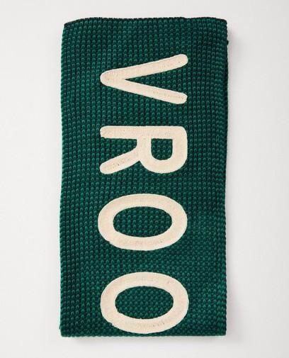 Groene sjaal met opschrift