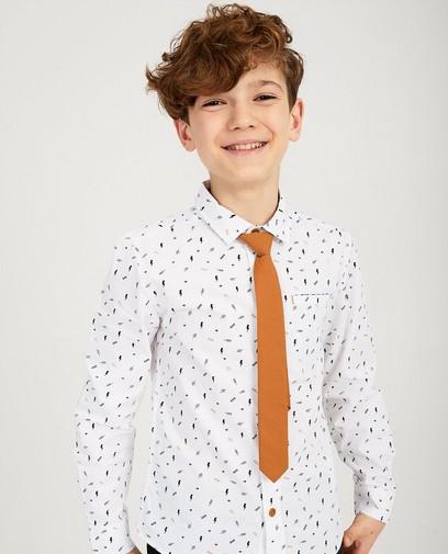 Wit hemd met print + stropdas