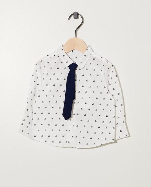 Wit hemdje met muzieknootjes - allover print - cudd