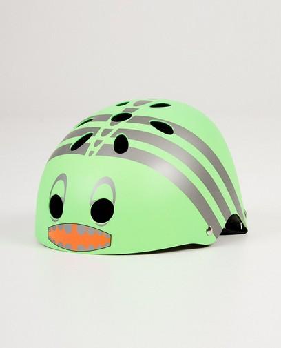 Groene helm met monsterprint