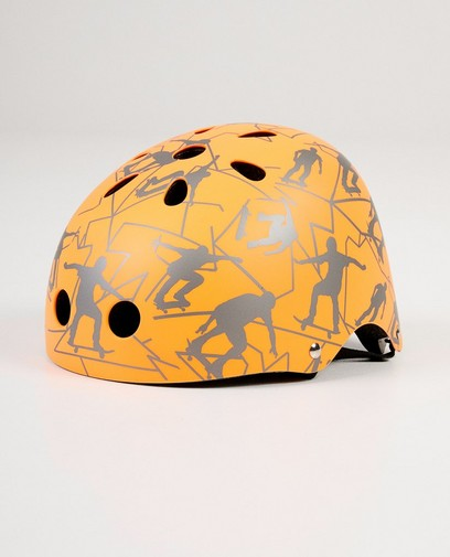 Casque orange, imprimé de skaters