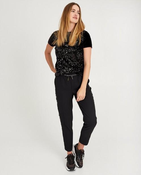 Zwart shirt met pailletten Sora - en fluweel - Youh!