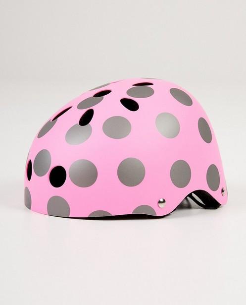 Roze helm met stippen - in grijs - JBC