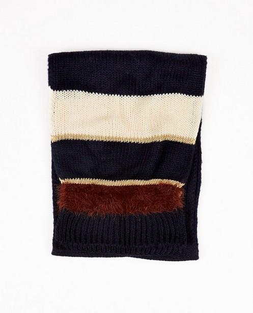 Donkerblauwe sjaal met strepen - in blauw, wit en bruin - JBC