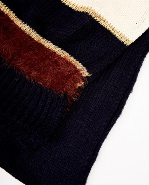 Breigoed - Donkerblauwe sjaal met strepen