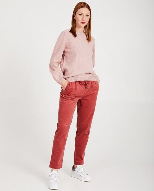 Pantalon rose foncé - velours côtelé, joli relief - Karen Damen