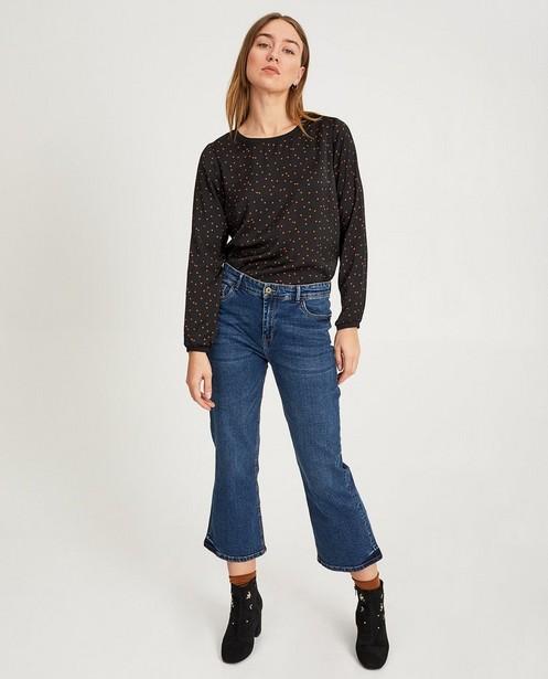 Zwarte blouse met vierkantjes - null - Sora