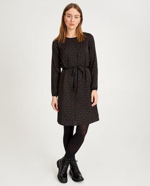 Robe noire, imprimé, Sora - petits carrés rouille - Sora