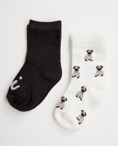 Set von 2 Paar Babystrümpfen - Weiß und Dunkelgrau - JBC
