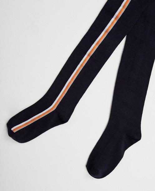 Collant bleu, rayures - blanches, grises et orange - JBC