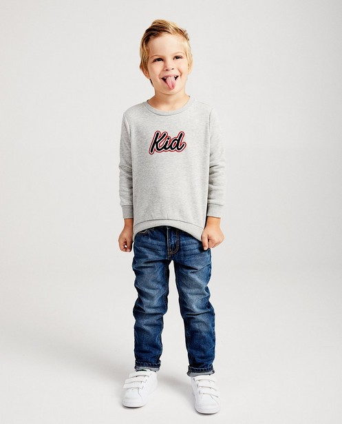 Pull gris clair « Kid », 98-128 - broderie - JBC