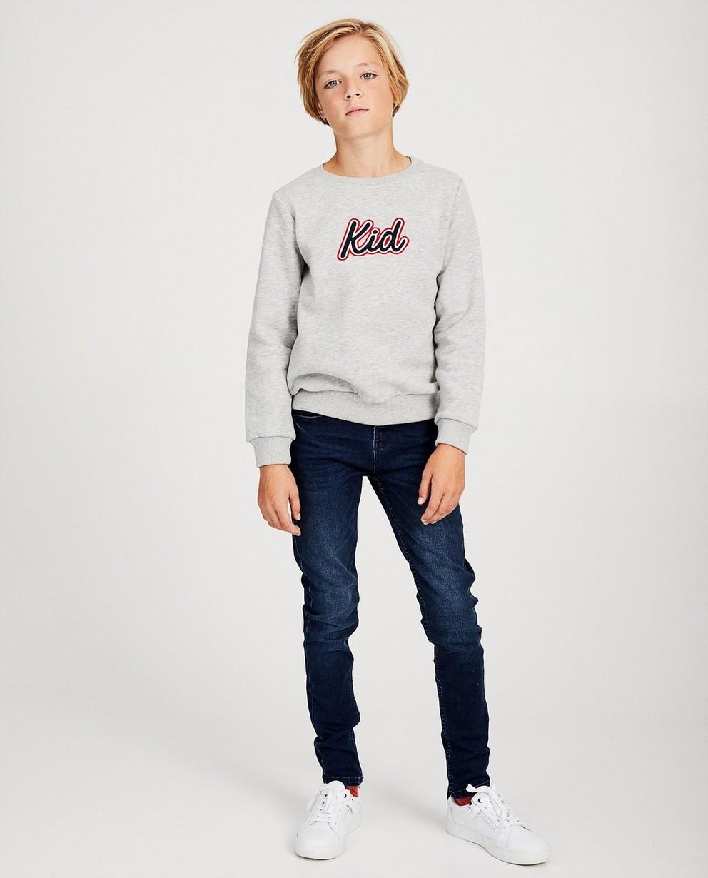 Pull gris clair «Kid», 134-170 - broderie - JBC