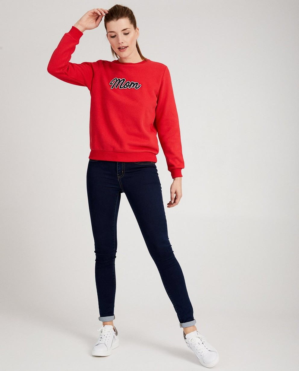 Pull rouge « Mom » - broderie - JBC