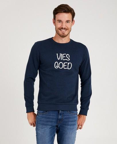 Blauwe 'vies goed'-sweater