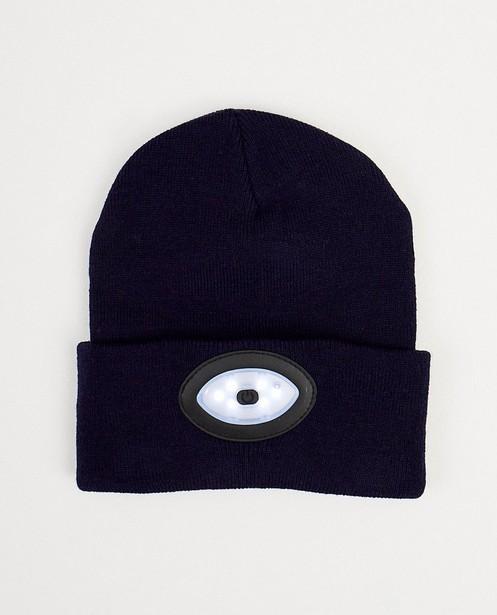 Bonnet bleu foncé, lampe - fin tricot - JBC
