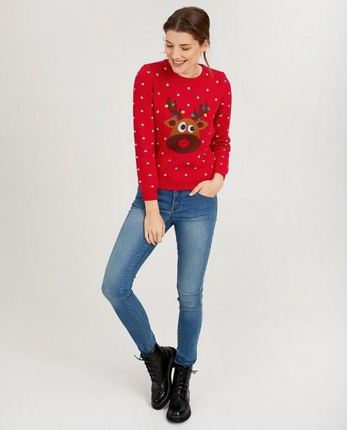 Rode rendier-trui met lichtjes - van fijne brei - JBC