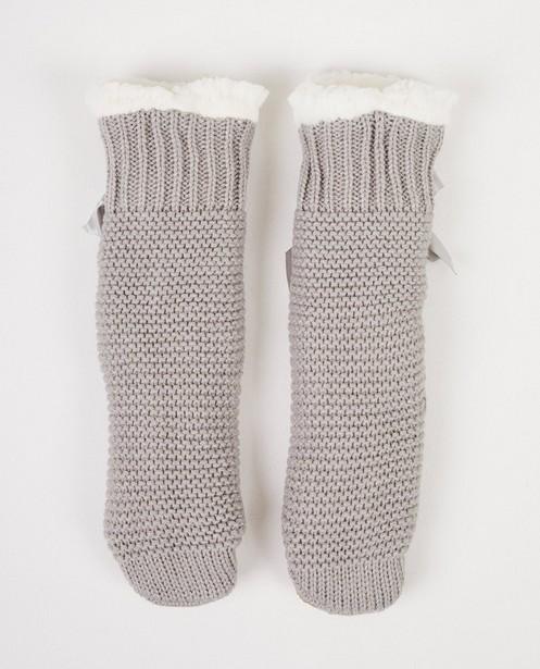 Graue Pantoffeln, Größe 34-39 - Hausschuhsocken - JBC