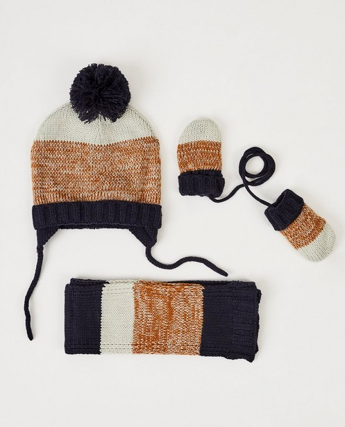 Set van muts, wanten en sjaal - in blauw, beige en bruin - cudd
