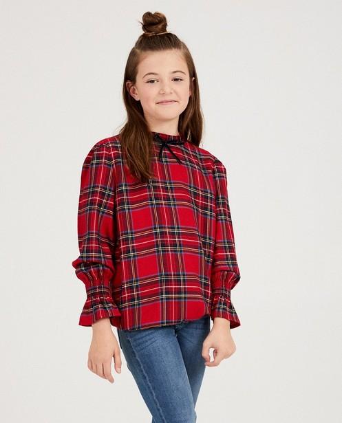 Hemden - Rode blouse met ruitprint
