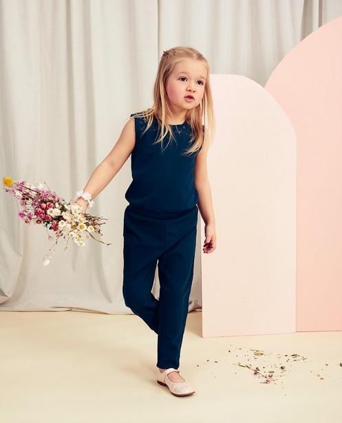 Blauwe jumpsuit met kant Communie - bloemenkant - Milla Star